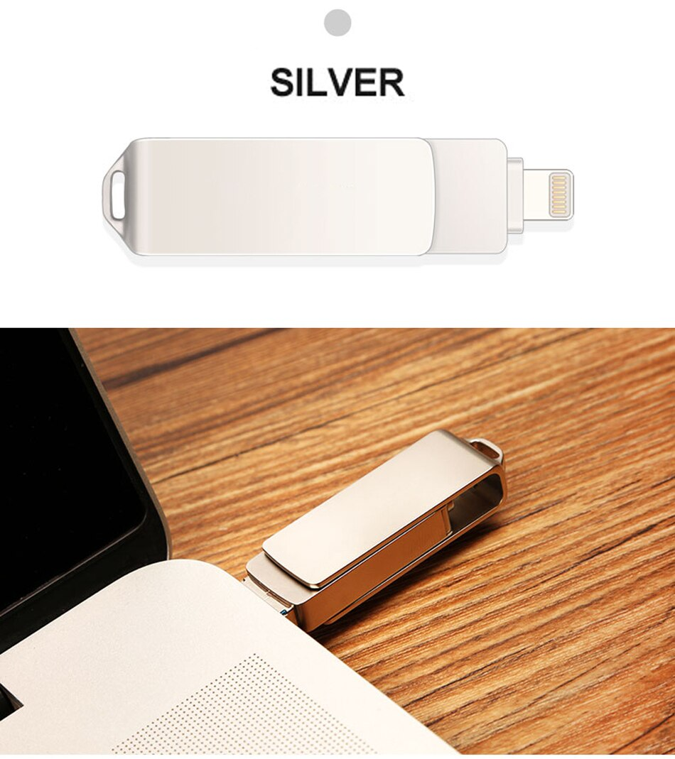 3 In 1 OTG USB Flash Drives USB3.0 Metal Pendrive 256GB 128GB 64GB 32GB Memory Stick for iPhone/iPad/Android/Tablet