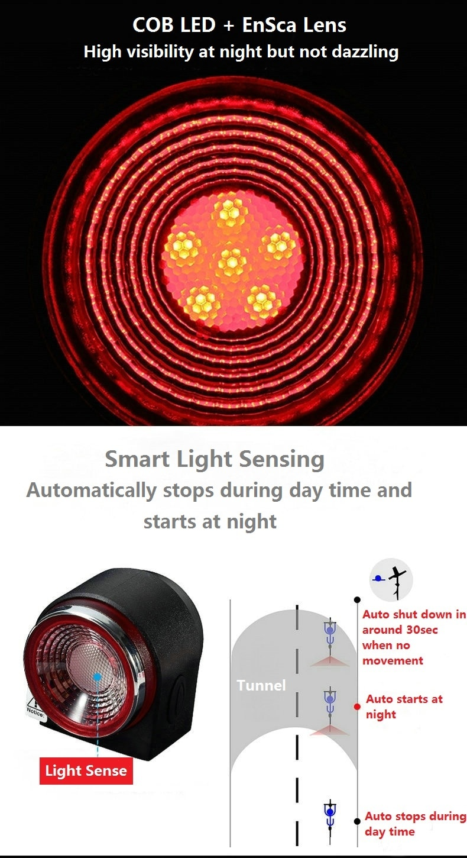 Bicycle Smart Taillight Burglar Alarm Light Remote Control