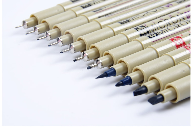 Sakura 13 Different Size Pigma Micron Needle Pen Set XSDK Black Marker Brush Pen Liner Pen for Sketch Drawing Design Manga Comic