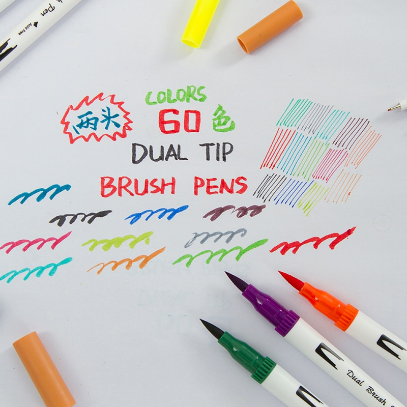 60 Colors Dual Tip Brush Pens Art Markers,Brush Tip with Fineliner 0.4 Markers Pen Set for Adult Coloring Books Bullet Journal
