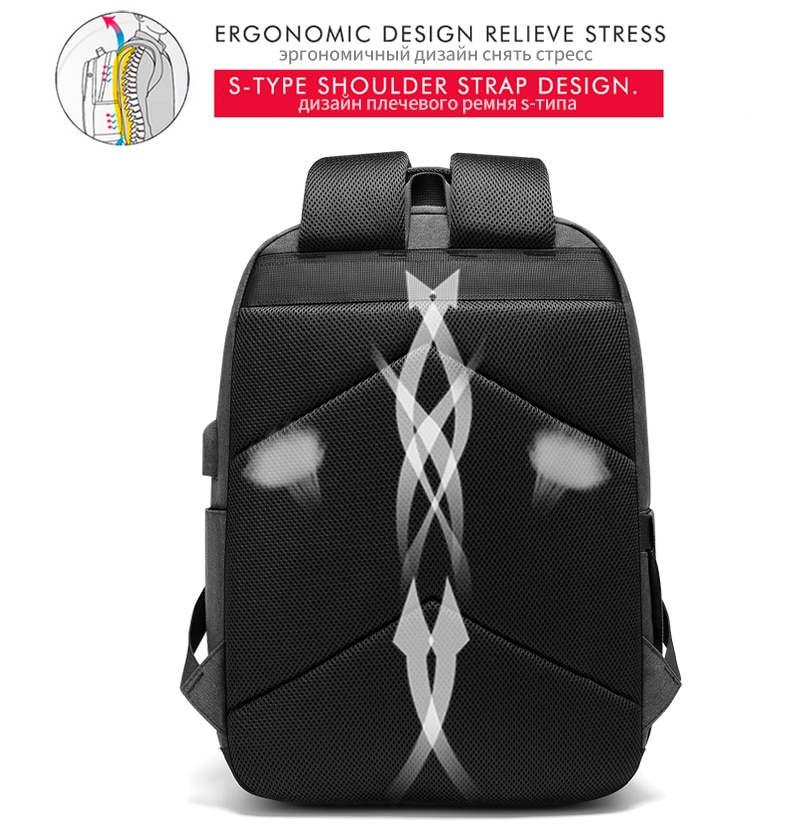 Backpack Fit 15.6 inch Laptop Bag USB Charging