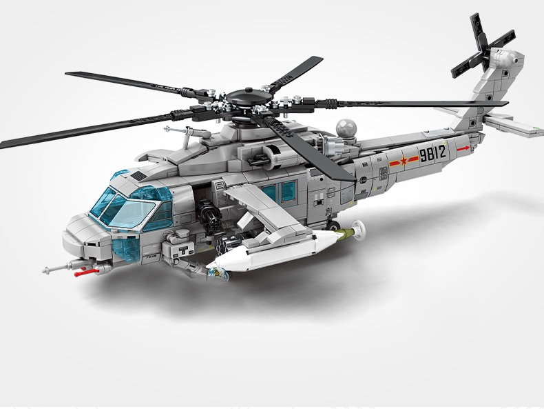Military Armed Helicopter Building Blocks Aircraft Toy