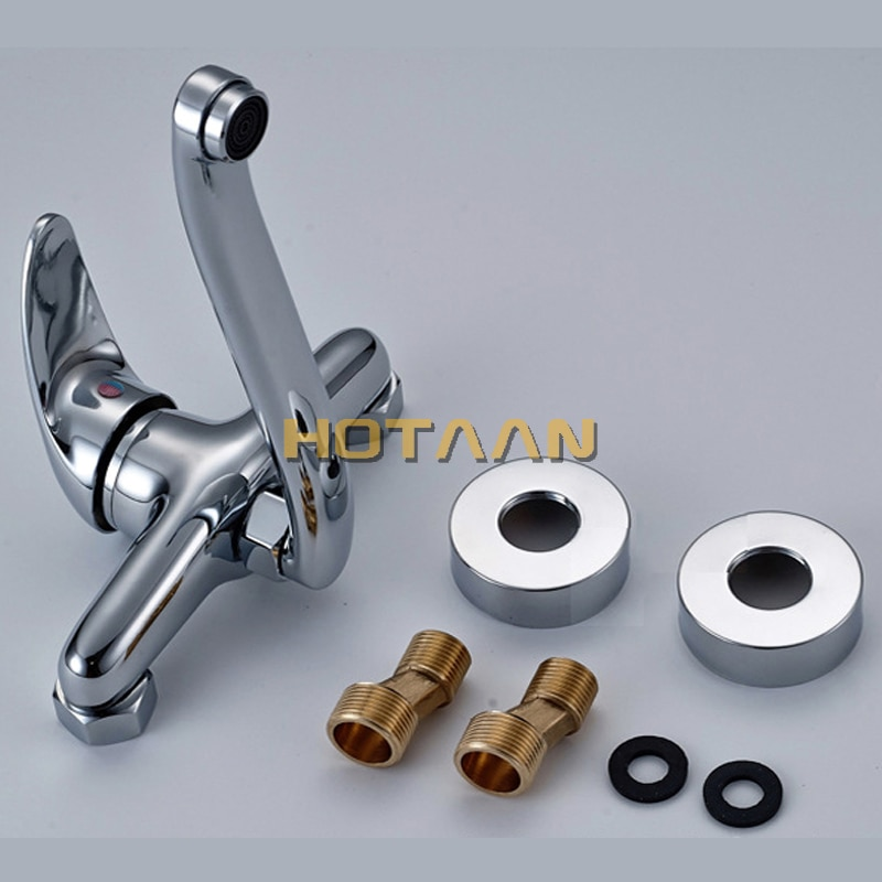 FREE SHIPPING Brass Chrome Taps For Kitchen Sink Kitchen Tap Dual Hole Wall Kitchen Mixer Kitchen Faucet torneira cozinha YT6033