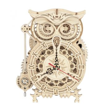 3D Owl Clock Wooden Model Building Block Kits