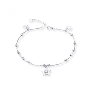 Anklet 925 Sterling Silver Star Beads Flower