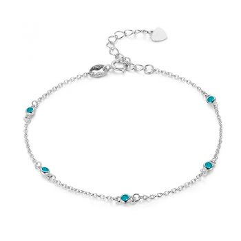 Slim Round Blue CZ 925 Sterling Silver Chain Anklet