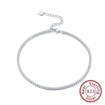 Real 925 Silver Adjustable Tennis Anklets