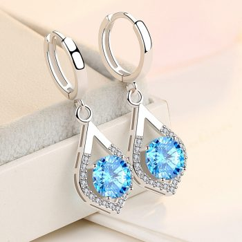 Heart Natural Crystal Drop Earrings Solid Sterling 925 Silver