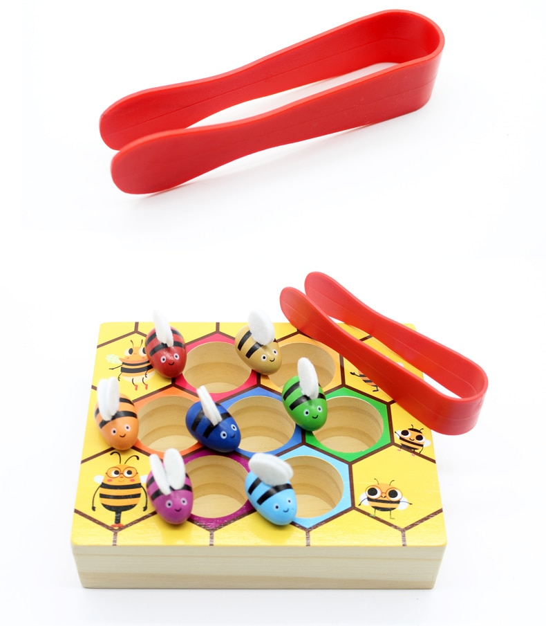 Wooden Puzzle Beehive Game Catch Bee Educational Toys