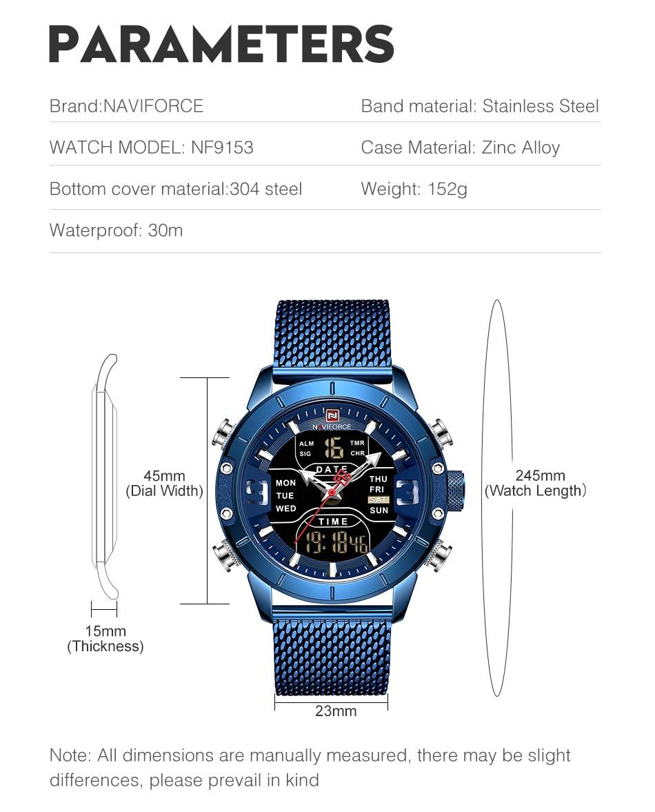 Sports Watch Quartz Wrist Stainless Steel LED Digital 9153