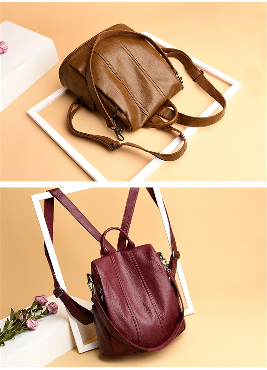 Leather Backpacks Women Fashion Anti-theft Travel Shoulder Bags