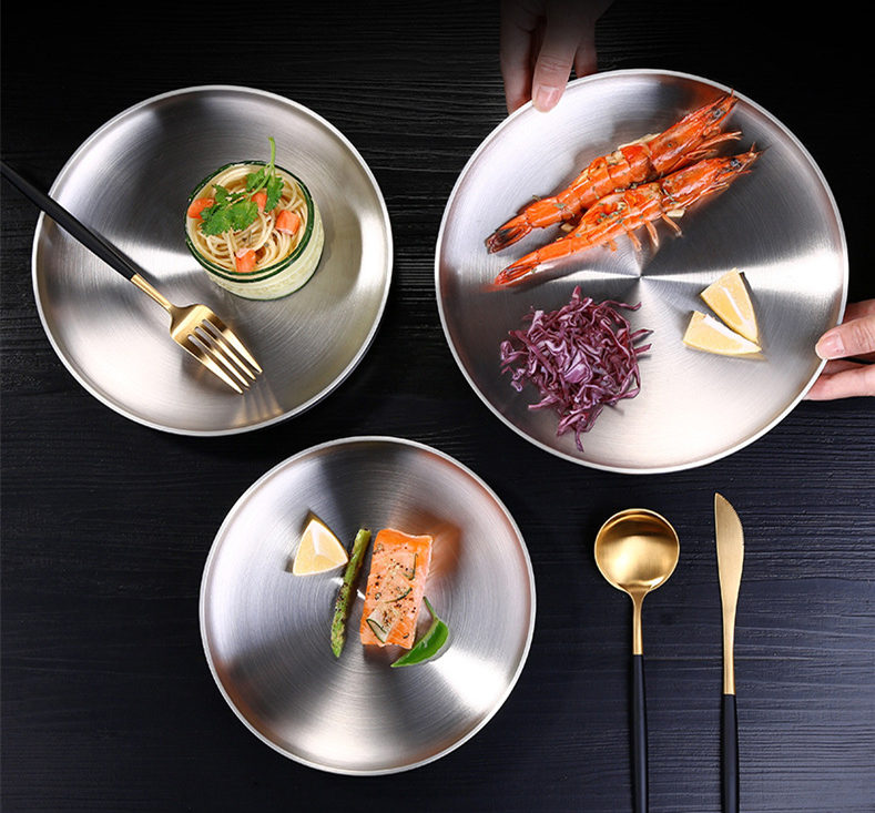 Round Plate Dish Double Layer 304 Stainless Steel