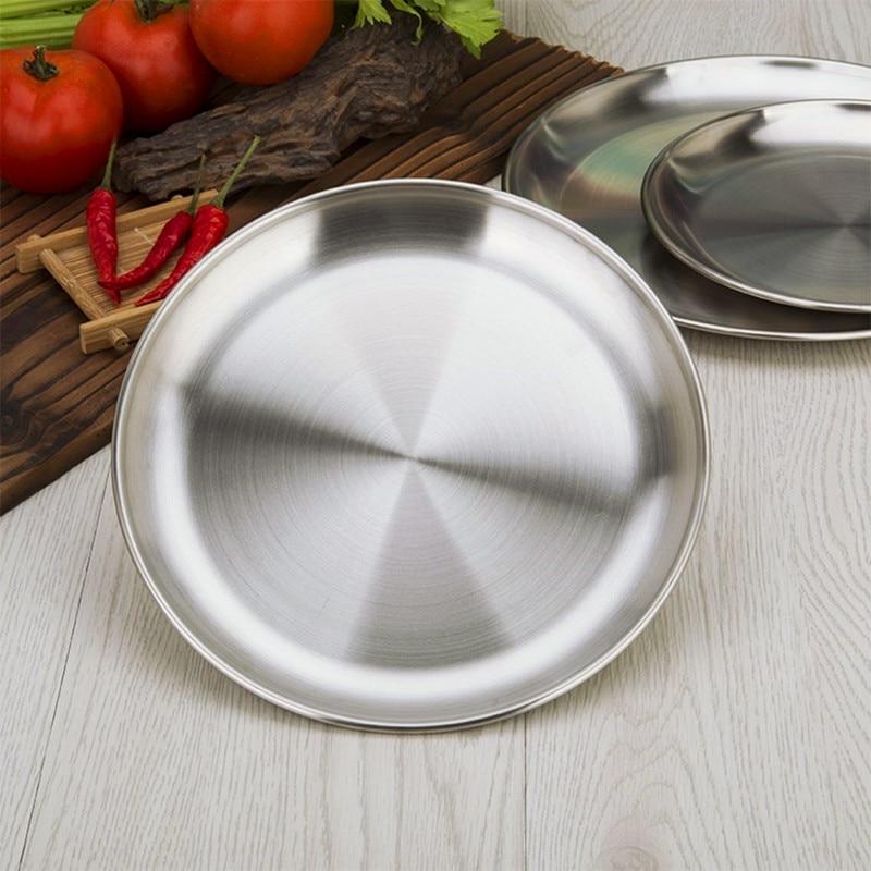 Metal Tableware Food Dishes Stainless Steel Dinner Plates