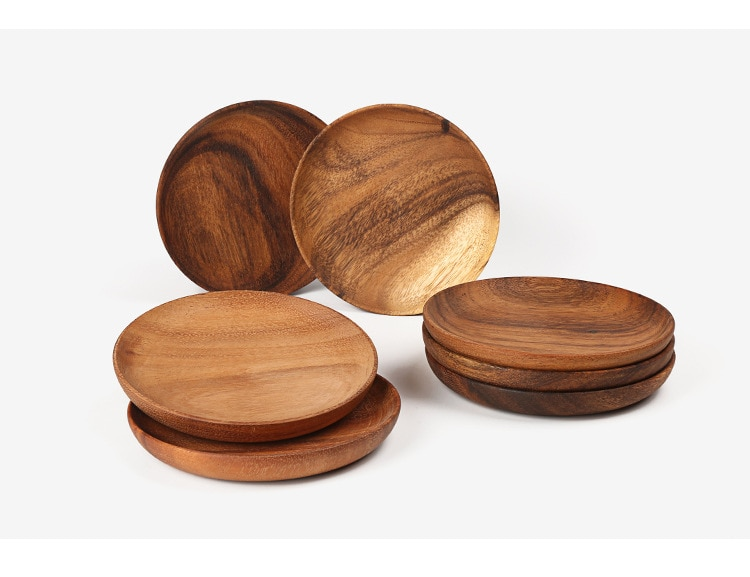 Round Solid Wooden Dinner Plates Fruit Dishes Table Service