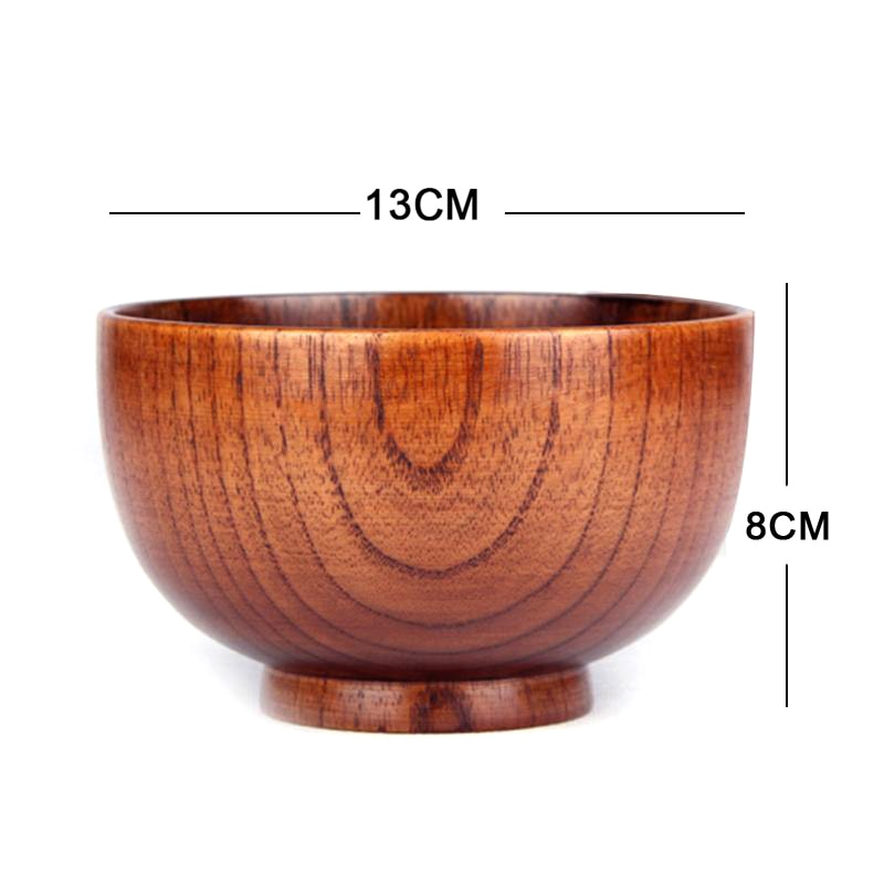 Solid Wood Bowl Set 2 Piece Soup Rice Food Container