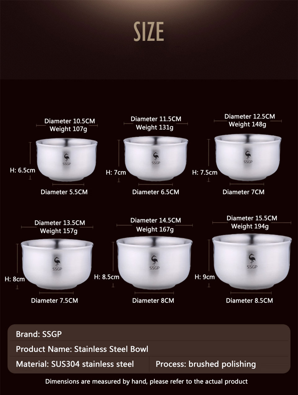 Bowl 304 Stainless Steel Double Anti-Scalding Food Container