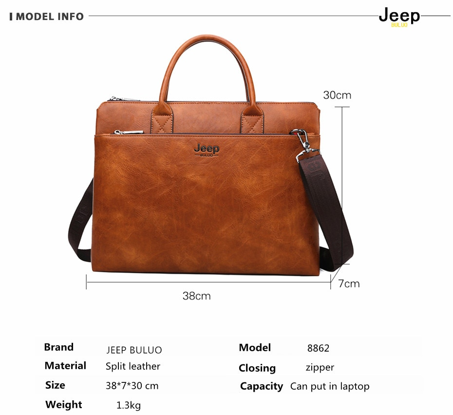 Briefcases 14 inch Laptop Business Bags Split Leather