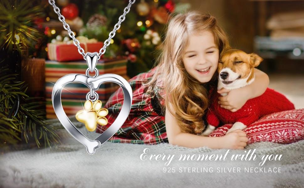 Pendant Necklace 925 Sterling Silver Cute Pet Footprint
