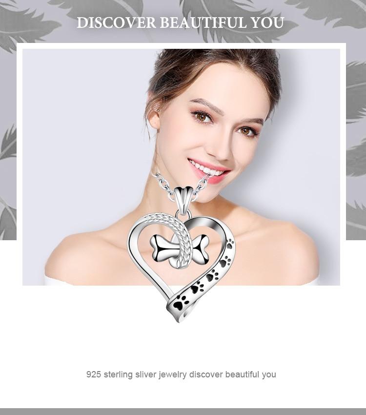 Pendant Necklace 925 Sterling Silver Heart Pet Footprint Jewelry