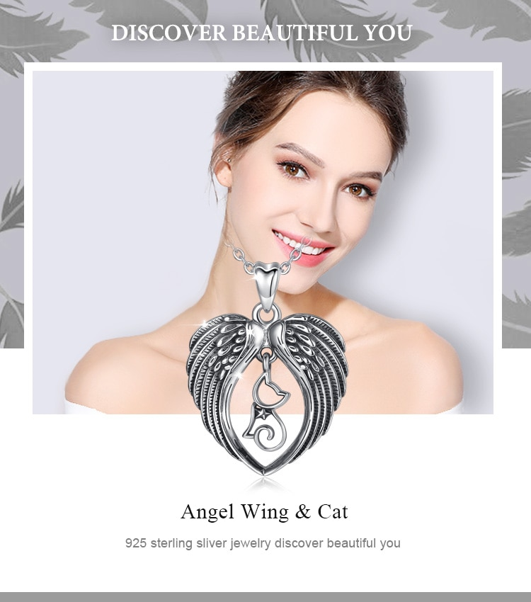 Pendant Necklace 925 Sterling Silver Cat & Angel Wing Heart Jewelry