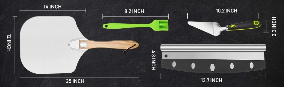 Pizza Shovel Peel Aluminium Long Wooden Handle Baking Tools
