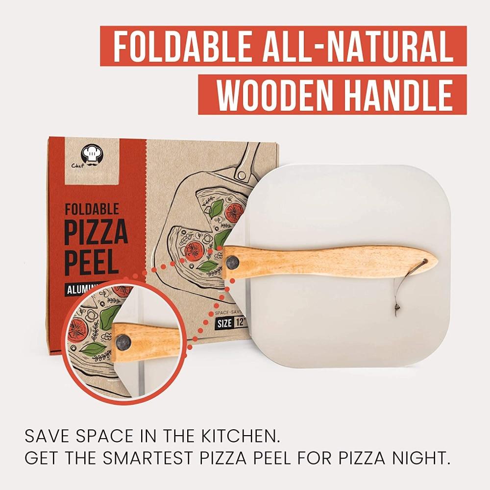 Aluminum Pizza Peel Shovel Wooden Handle Baking Tool
